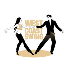 Young couple dancing swing west coast style vector