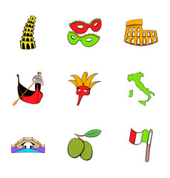 country italy icons set cartoon style vector image vector image