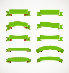 Different retro style green ribbons vector image vector image