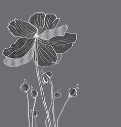 floral gray card vector image vector image