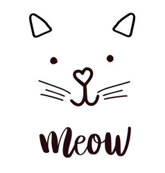 head cat silhouette black icon lettering meow vector image