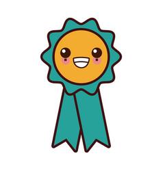 medal award ribbon kawaii cartoon vector image