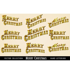 Merry Christmas text in Gold vector image vector image