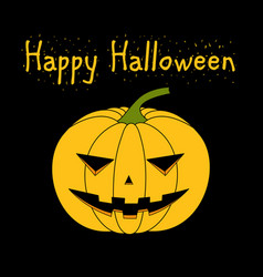 card with a evil pumpkin for halloween vector image vector image