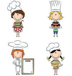 cartoon female chefs vector image vector image