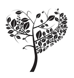 Heart Shaped Black Tree on White Background vector image