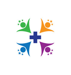 human health cross with star logo image vector image vector image