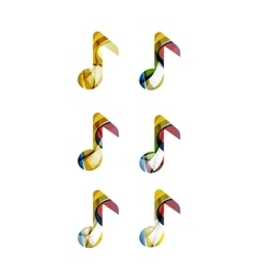 Set of abstract music note icon business logotype vector image