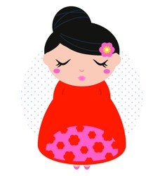 Beautiful cute colorful floral japanese girl vector image vector image