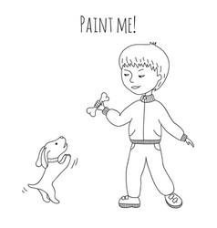Coloring boy and dog vector