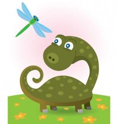 Dinosaur and dragonfly vector