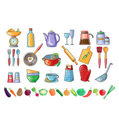 set of kitchen utensils and fresh vector image