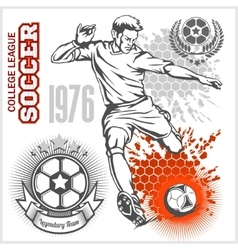 Soccer player kicking ball and football emblems vector image