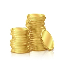 Stack of Gold Coins isolated on white background vector image vector image