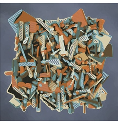 Abstract fragmented sculpture in blue and orange vector