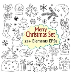 Beautiful Christmas Sketch Collection vector image vector image