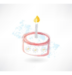 cake and candle grunge icon vector image vector image