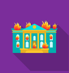 house on fire icon flat single silhouette fire vector image vector image