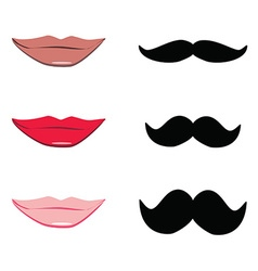 Lips and mustache vector image vector image