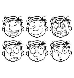 man with six different facial expressions vector image vector image