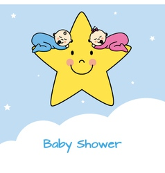 Twins sleeping in a star vector image vector image