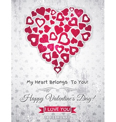 valentines day greeting card with white heart vector image vector image