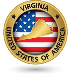 Virginia state gold label with state map vector image vector image