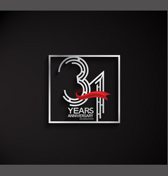 31 years anniversary logotype with square silver vector