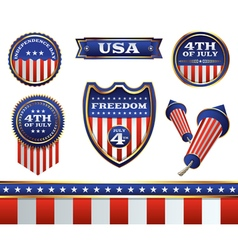 4th july badges vector