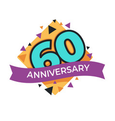 60 anniversary or birthday isolated festive icon vector image