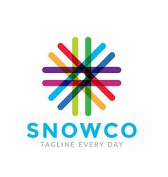 Abstract snowflake logo design template vector