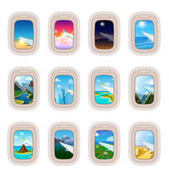Airplane window traveling by plane vector