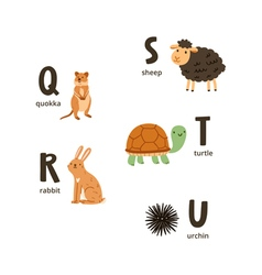 Animal alphabet letters q to u vector image