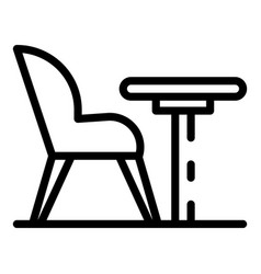 armchair and round table icon outline style vector image