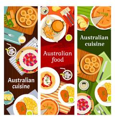 Australian food cuisine menu dishes meals banners vector