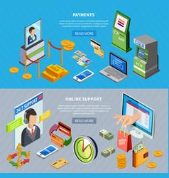 banking horizontal banners set vector image