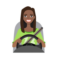 Black african american woman driving a car woman vector