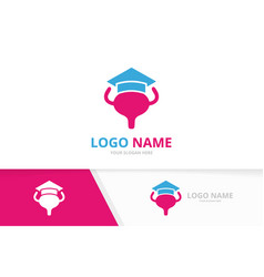 bladder and graduate hat logo combination vector image