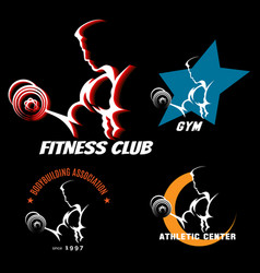 body building label set vector image