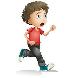 Boy running white background vector