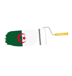 brush stroke with algeria national flag isolated vector image