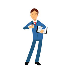 Businessman cartoon character in a blue suit vector