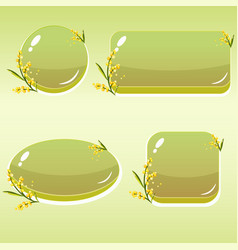 cartoon buttons with flowers and leaves for gui vector image