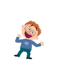 Cartoon character of a cheerful boy with glasses vector