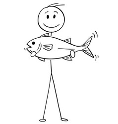 cartoon of fisherman holding a catch fish vector image