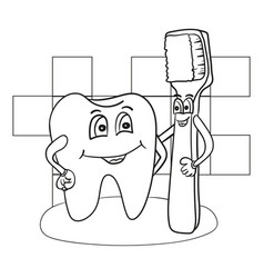cartoon of happy tooth character with vector image