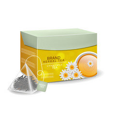 Chamomile tea pack in triangle bags infusion vector