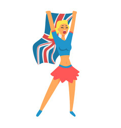 cheering happy supporter of british national vector image