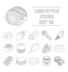 chocolate desserts set icons in outline style big vector image