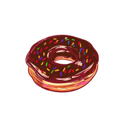 chocolate donut hand drawn vector image